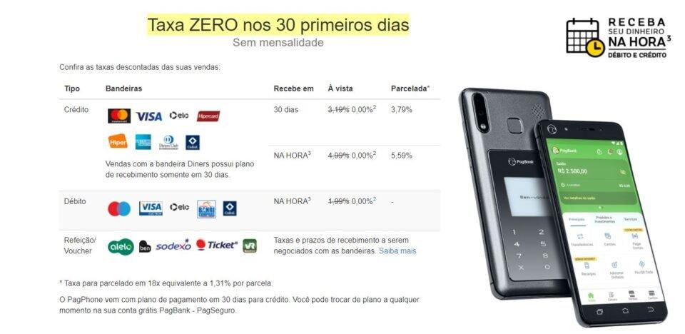 Taxas da maquininha PagPhone